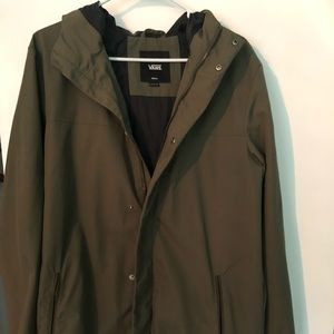 Olive green rain jacket